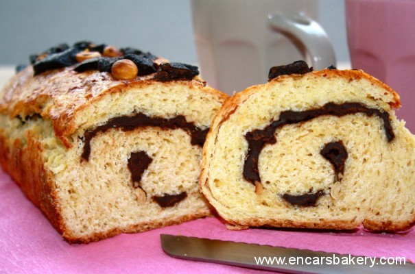 Pan espiral con chocolate